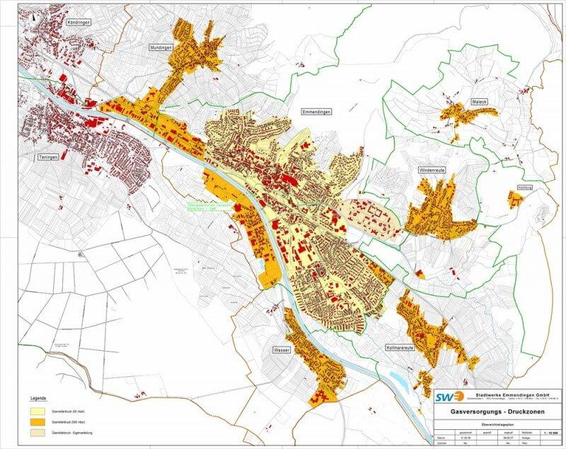 Übersichtskarte über das Versorgungsgebiet der SWE