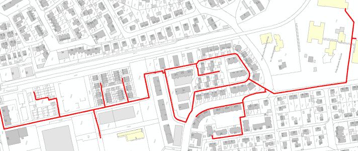 Stadtplan der Gebiete Ramie und Schwarzloch mit eingezeichnetem Wärmenetz