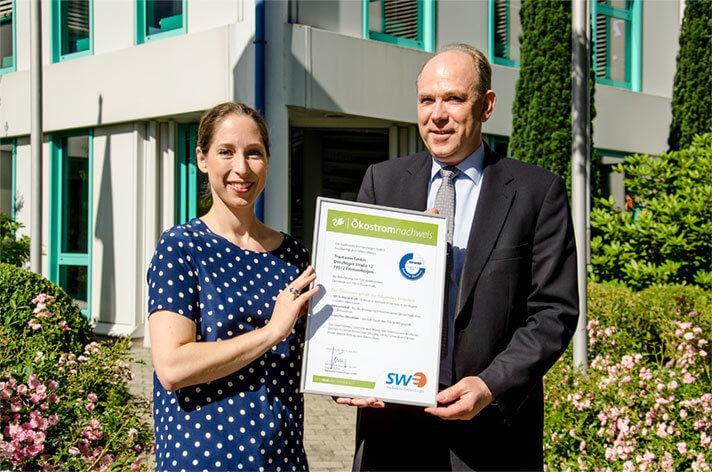 Stadtwerke übergeben Ökostromnachweis an Trautwein GmbH