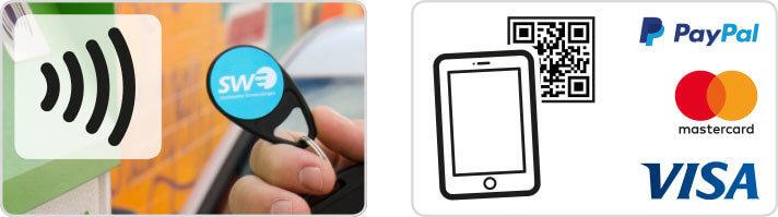 Zahlungsmöglichkeiten an den Ladesäulen(RFID-Chip, via App, Paypal, Mastercard, Visa)