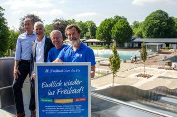 Ab 22. Juni 2018 öffnen die Freibad-Tore. Am 30. Juni folgt die offizielle Einweihung mit einem großen Fest und freiem Eintritt für alle Besucherinnen und Besucher.