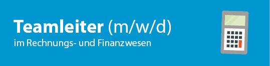 Schriftzug Teamleiter (w/w/d) Rechnungs- und Finanzwesen mit Taschenrechner Icon