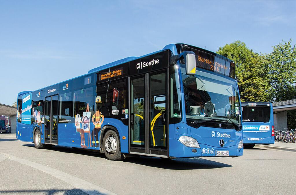 Stadtbus im Zentralen Omnibus Bahnhof Emmendignen