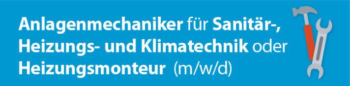 """Grafik mit der Aufschrift """"Anlagenmechaniker für Sanitär-, Heizungs- und Klimatechnik oder Heizungsmonteur (m/w/d)"""""""