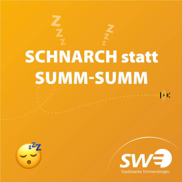 """Grafik mit dem Text """"Schnarch statt Summ-Summ"""""""