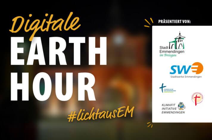 Das Earth Hour-Logo vor dem Emmendinger Tor